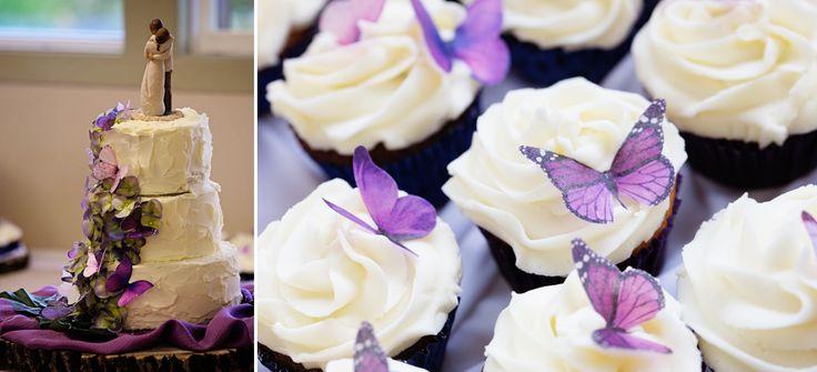 Butterfly Wedding Cake and Cupcakes ©Alicia Robichaud Photography www.arfoto.ca