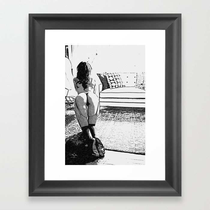 Good Pet - Sexy Submissive Girl Fantasy Artwork, black and white erotic, hot booty, lingerie view Framed fine art print on natural white, matte, ultra smooth, 100% cotton rag, acid and lignin free archival paper using an advanced digital dry ink method to ensure vibrant image quality. #society6 #framed #art #prints