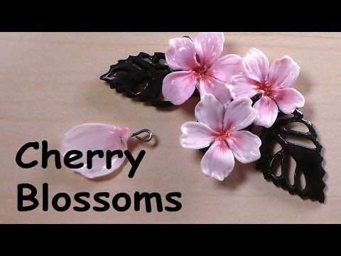 Cherry Blossom Charm - Polymer Clay Tutorial - YouTube.  cool tip make a slit in the mold form to make applying the headpin easier.
