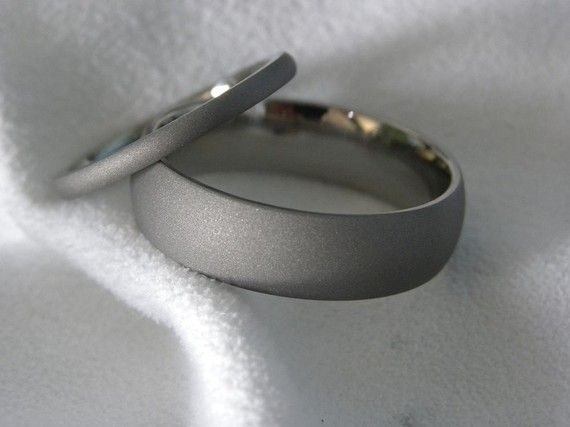 Domed Profile Sandblasted Titanium Ring by titaniumknights, Etsy (ask about buying separately)