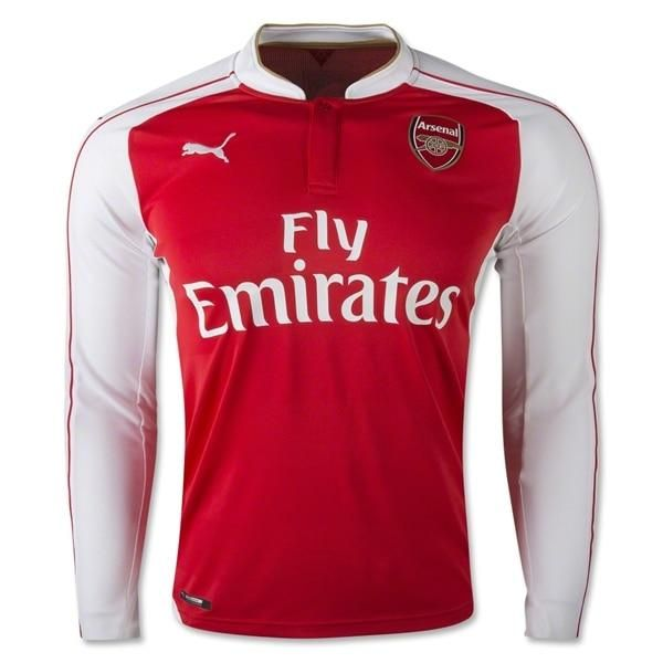 Puma Men S Arsenal 15 16 Home Long Sleeve Jersey High Risk Red White In 2021 Arsenal Football Shirt Long Sleeve Jersey Football Shirts
