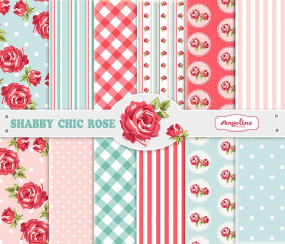 12 Shabby Chic Rose Digital Scrapbook Paper pack by AngelinaWorks, $3.20