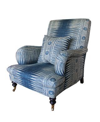Hollyhock | Hollyhock Folly Chair with Pillow Upholstered in Suzanne Rheinstein* Hollyhock for Lee JofaIndian Zag fabric in Indigo Currently one isavailable off the