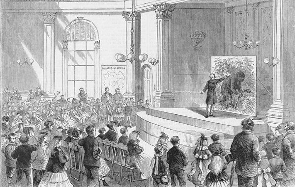 Mr. Paul Du Chaillu Lecturing to the Young Folks of Boston, an engraving from Harpers Weekly, 1869.