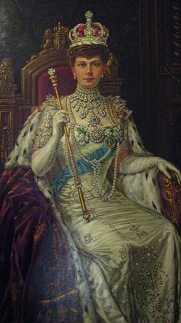 This painting of Queen Mary hangs beside that of her husband. A similar painting technique, for her eyes was used.