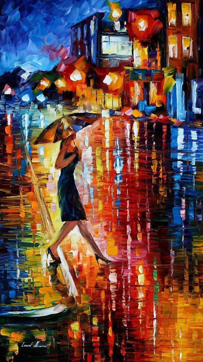 leonid afremov | LATE RETURN -+- LEONID AFREMOV by *Leonidafremov on deviant ART - there it is again, the wondrous umbrella http://johnpirilloauthor.blogspot.com/