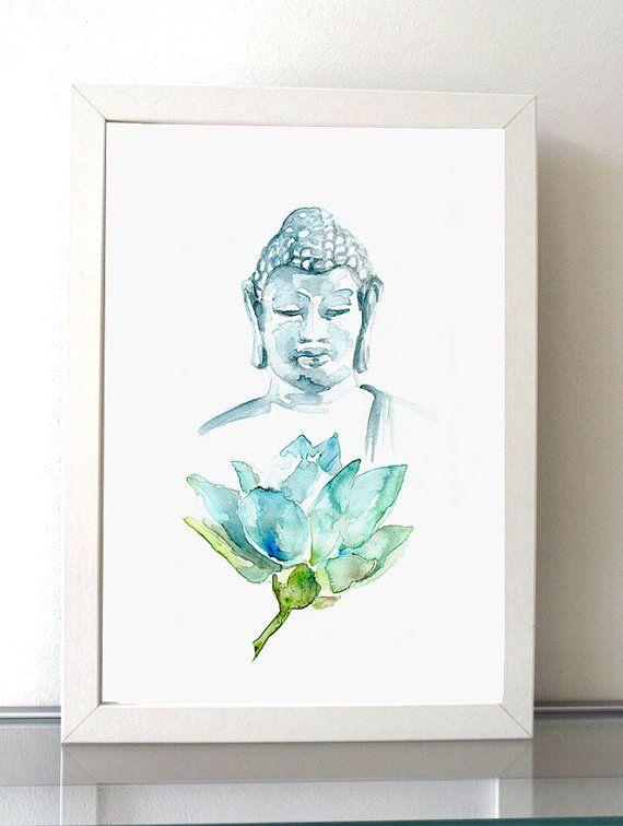 Buddha Art -  Lotus Buddha illustration - giclee print - blue green decor - meditation Art - Mindfull - Buddhism Art