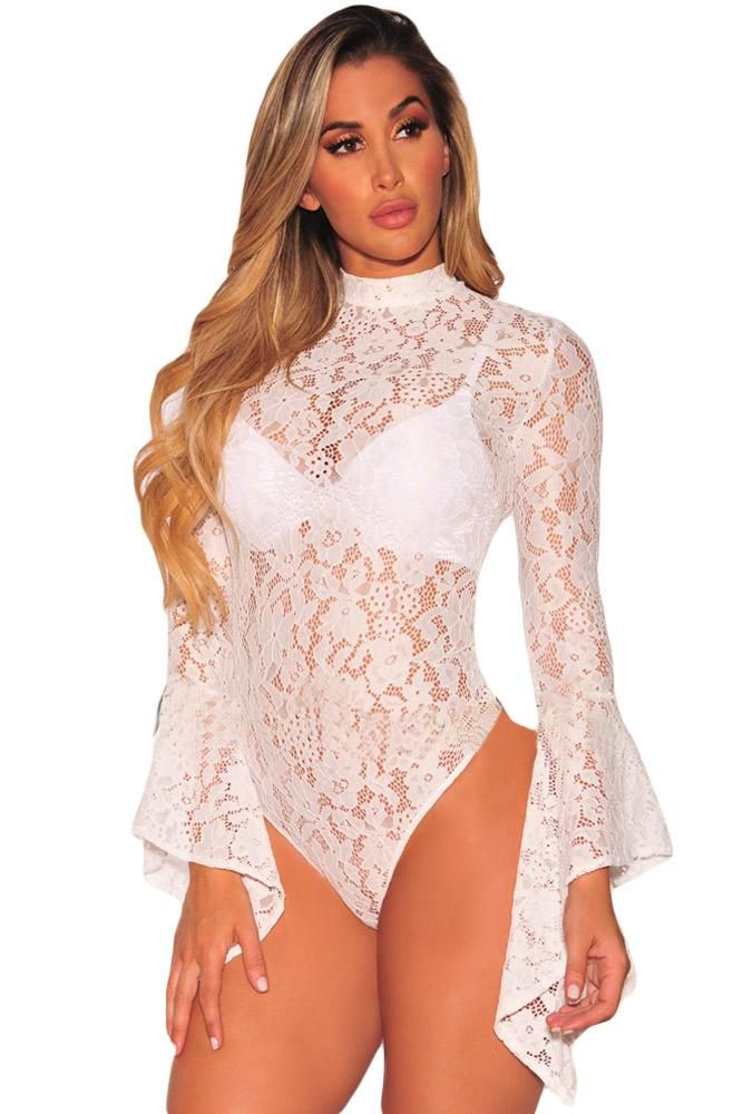 Ready to ship: Chicloth White Sh.... http://chicloth.com/products/chicloth-white-sheer-floral-lace-long-bell-sleeve-bodysuit?utm_campaign=social_autopilot&utm_source=pin&utm_medium=pin