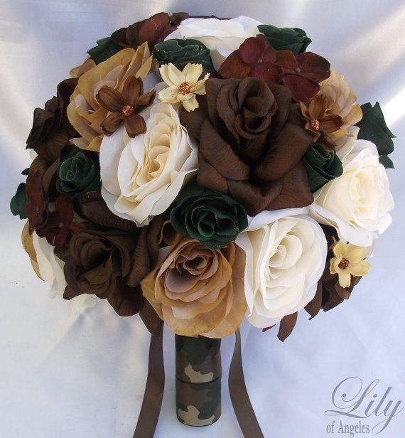 17pcs Wedding Bridal Bouquet Silk Flower Camo by LilyOfAngeles, $189.99