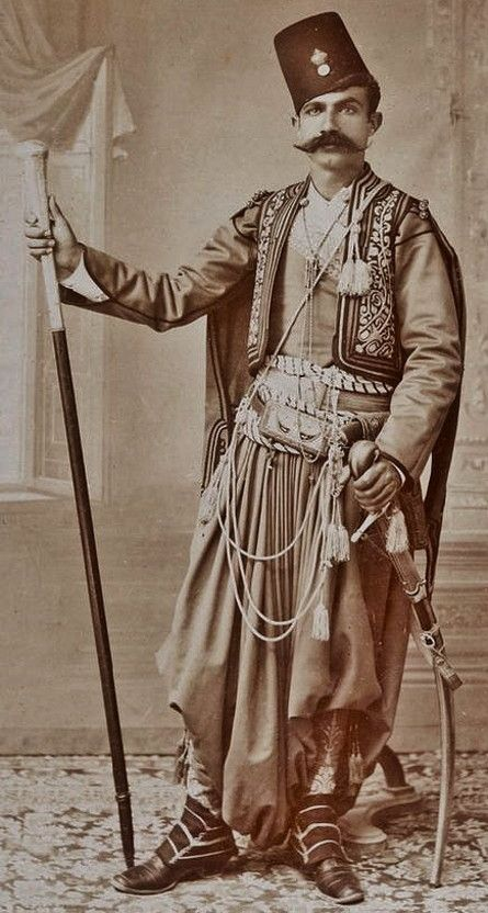 Portrait of a 'Kavas' (Guard) military officer, in full ceremonial outfit. Jerusalem, Palestine. Late-Ottoman, 1890s.