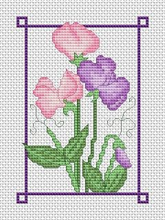 July sweet peas free cross stitch chart | Amanda Gregory cross-stitch design