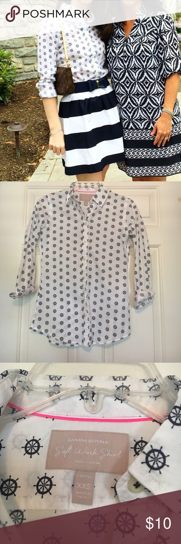 Banana Republic Ship Wheel Button Down XXS. Great Condition! Looks adorable with the navy Lilly Belt listed (will bundle!) Price Negotiable Banana Republic Tops Button Down Shirts