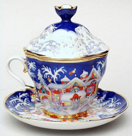 Christmas Fairy Tale Cup and Saucer   Lomonosov Russia - Factory Direct from Russia