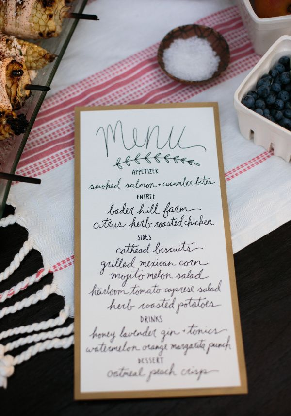 Sweet Summer Supper: Al Fresco Dinner Party // handlettered menu // Photo credit This Wild Season // Twin Stripe Blog