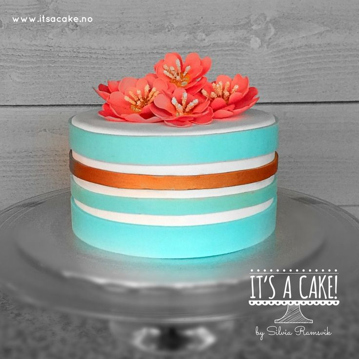 Chic cake Turquoise and coral