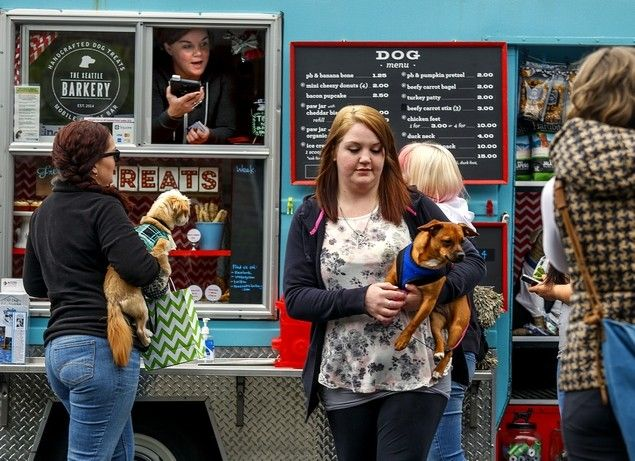 Seattle Barkery Mobile Doggie Treat Truck.  A very special visit to Builders Exchange of WA in Everett, WA