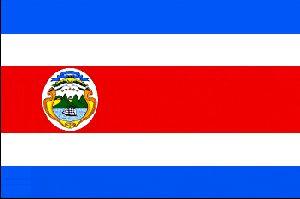Es una bandera de Costa Rica. Está en la Costa Rica. Los colores de la bandera son azules, rojos y blancos. Se puede cantar el himno nacional.