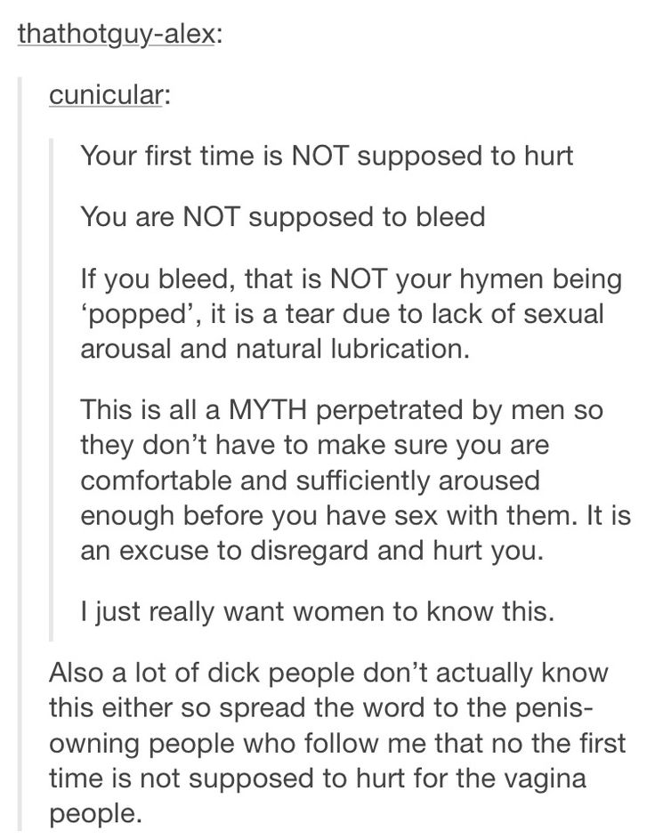 your first time should not hurt please be aware and spread the word, this is something I didn't know and the myth was used against me by my (now ex) boyfriend to grant his own satisfaction-don't be used like I was
