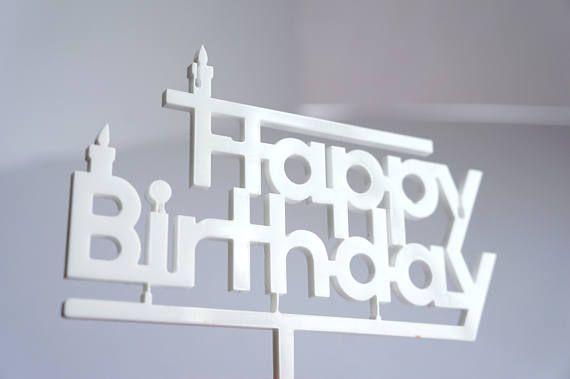 Cake topper Blanc Happy Birthday