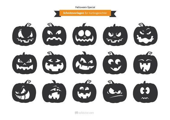 Halloween: Schnitzvorlagen für Gruselkürbisse (magazin.sofatutor…) Kürbissc…