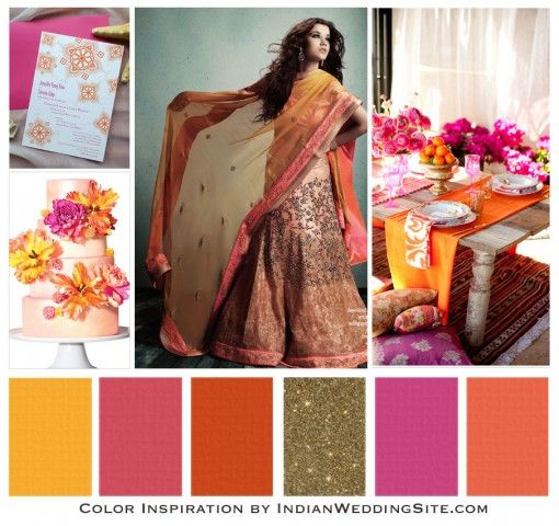Marigold and magenta wedding colors | Credits: Invitations via 3 Bees Paperie | Cake by Lulu Cake Boutique ...