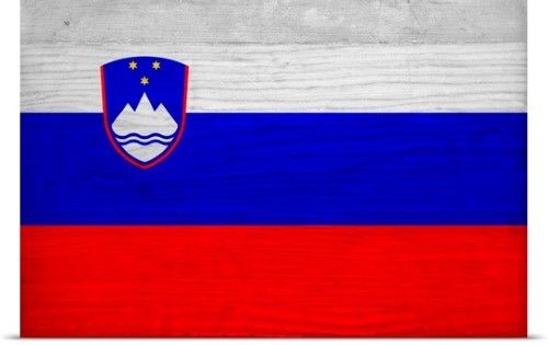 Philippe Hugonnard Poster Print Wall Art Print entitled Wood Slovenia Flag, Flags Of The World Series, None