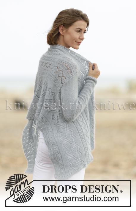 Жакет спицами с длинным рукавом связанный поперек