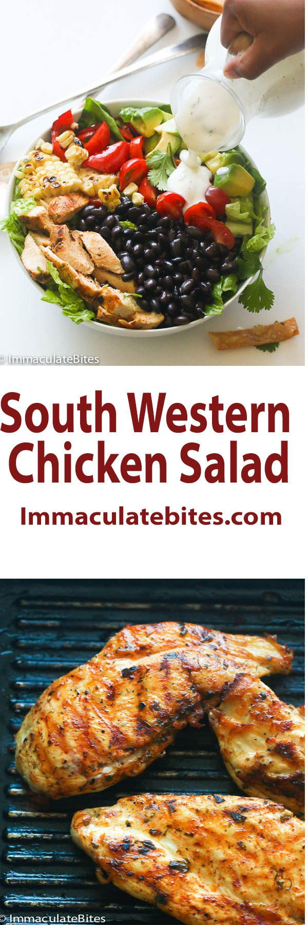 SouthWest Chicken Salad – a combination of chicken breast seasoned with taco spice and paired with reduce calorie ranch dressing. Seriously, what's not to love?