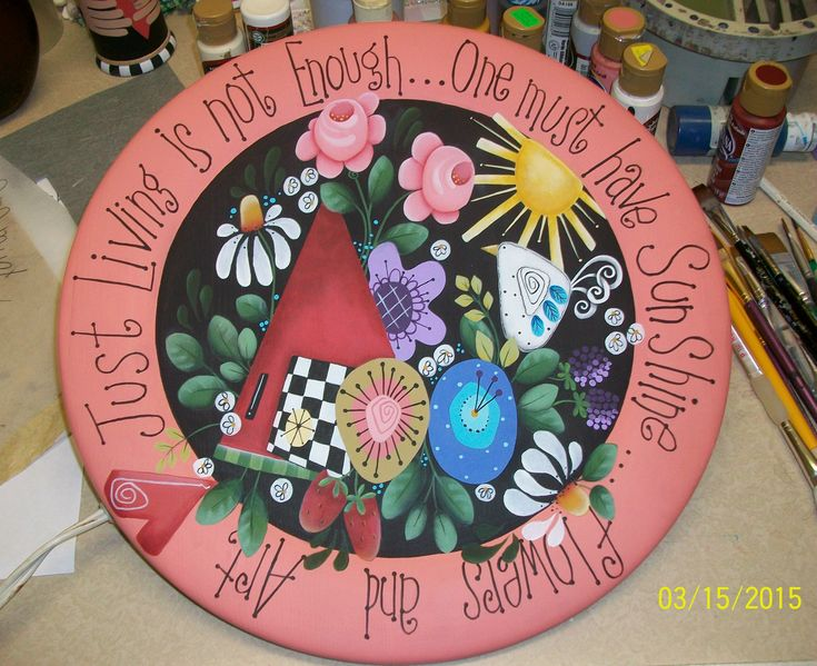 Flowers and Art handpainted wooden plate....pattern by Shara Reiner