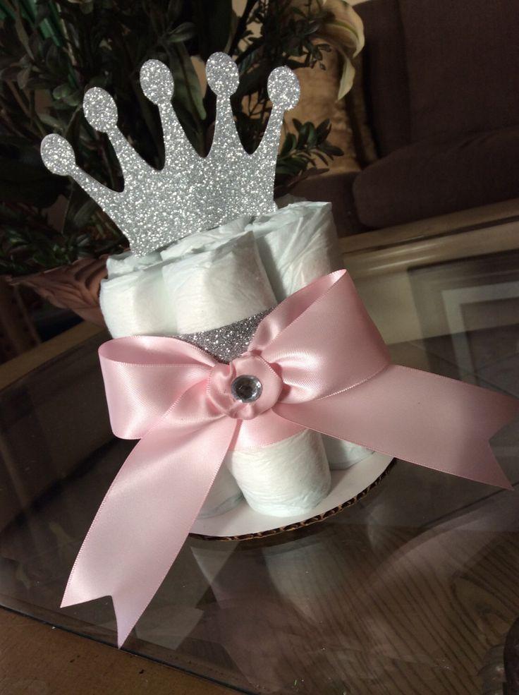 Princess mini diaper cake/Princess baby shower centerpiece/Girl mini diaper cakes/Girl baby shower centerpiece/Pink and silver baby shower by InspiredbyElena on Etsy https://www.etsy.com/listing/254490743/princess-mini-diaper-cakeprincess-baby