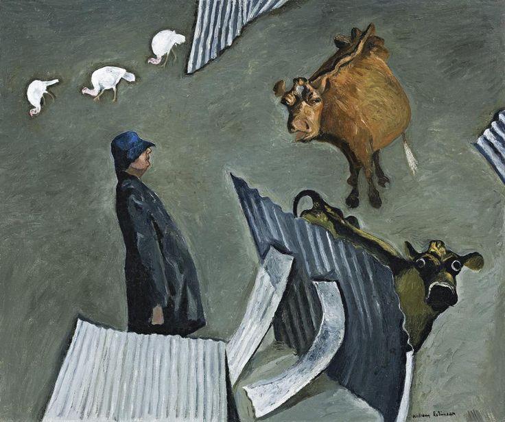 William Robinson (b.1936), Farmyard Construction with Self Portrait 1982/83, oil on canvas, 53 x 62.5 cm