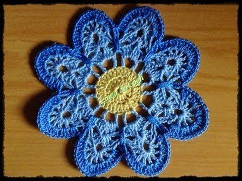 Crochê - Flor 1 - Tutorial - Parte 2 de 2 (Вязание крючком - Flower 1 - Учебник - Часть 2 из 2) - YouTube