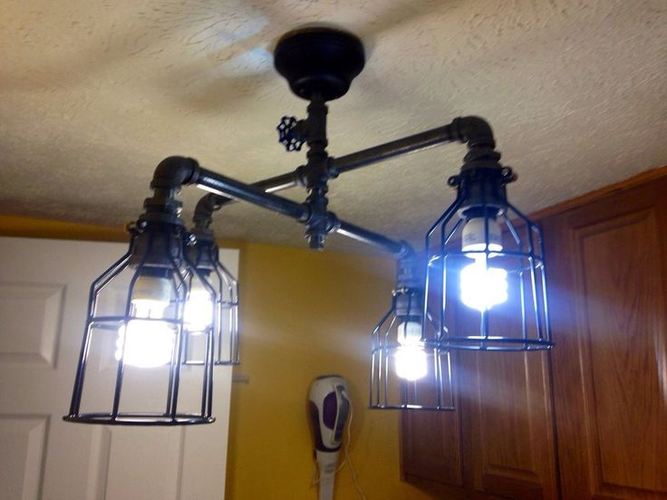 Steampunk industrial Pipe ceiling lighting With Four Lights
