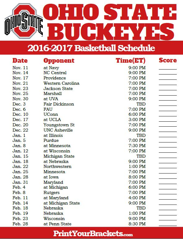 Ohio State Buckeyes 2016-2017 College Basketball Schedule