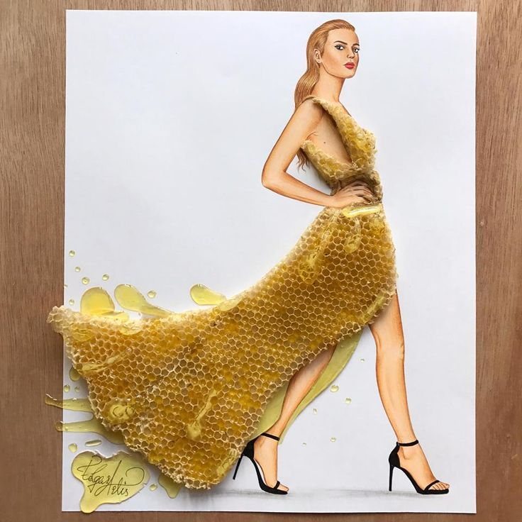 Dress made of real honeycomb by Edgar Artis