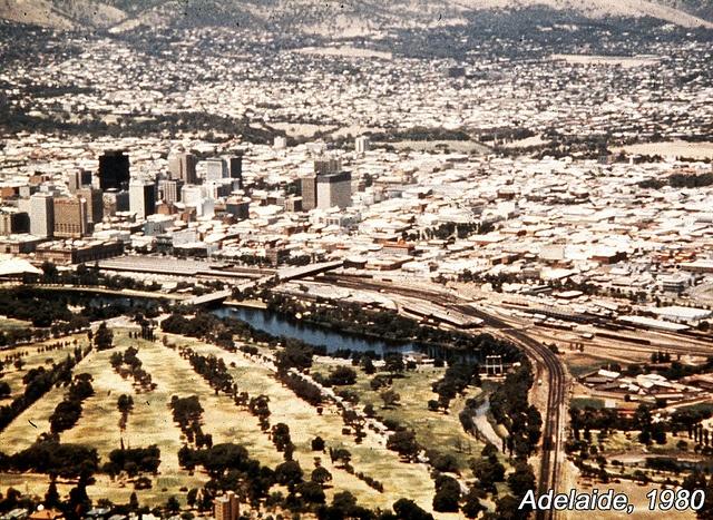 Adelaide CBD and railway yards, 1980, via Flickr.