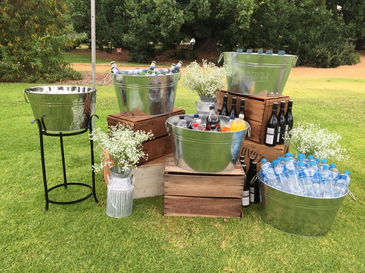 25 best ideas about drink station wedding on pinterest for Backyard engagement party decoration ideas