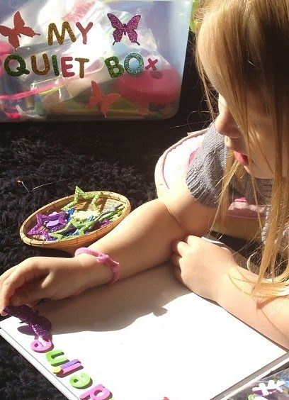 Learn with Play at home: Quiet Box. Independent Activities for Kids.  Here we share Why you'd have a Quiet Box, How you'd go about making one and the specific materials that we currently have in our Quiet Box.
