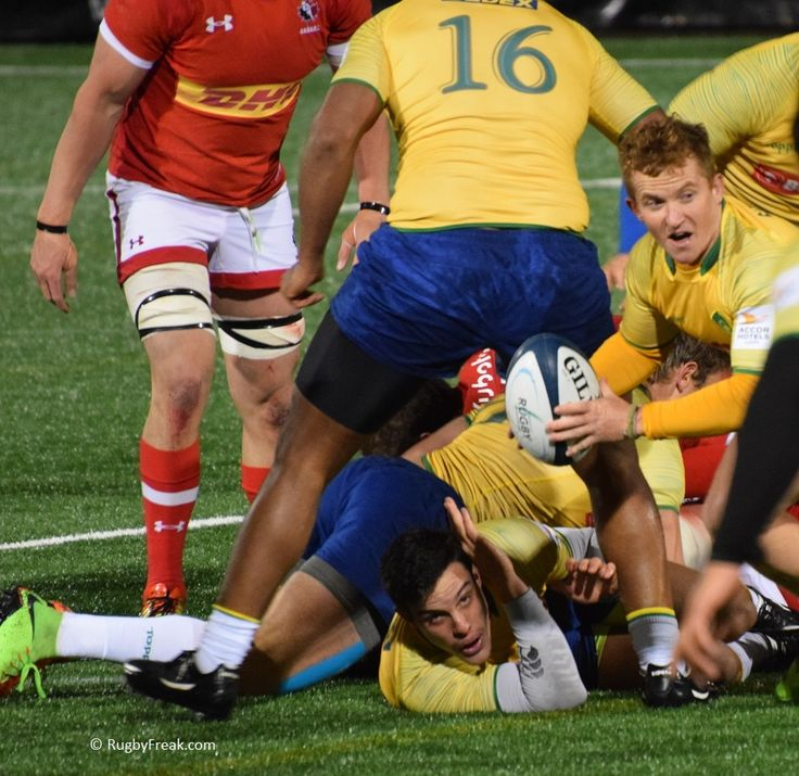 Brazil maintains possession after an on field pile-up against Canada. #rugbyfreak #sofreaky #loverugby #rugby #ARC #rugbycanada #teamcanada #teambrazil