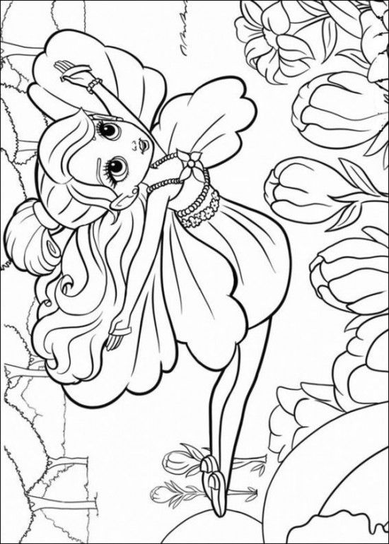 Free Coloring Sheets of Barbie Thumbelina Printable Picture 18 550x770 Picture
