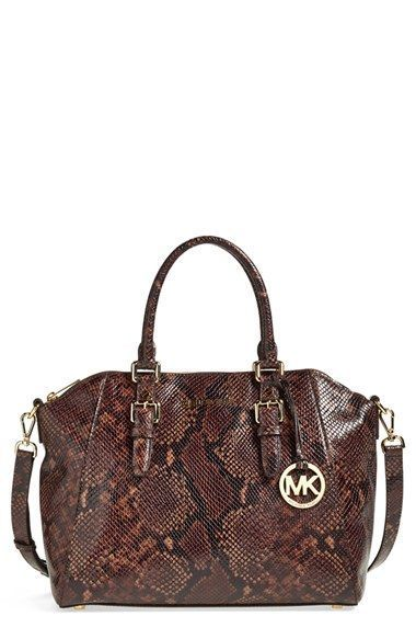 30aff1db57db MICHAEL Michael Kors 'Large Bedford' Top Zip Python Embossed Satchel  available at #Nordstrom