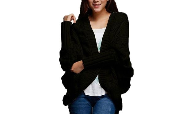 Bundle up in style with a batwing cardigan; available in cream, coffee, grey, pink, or black