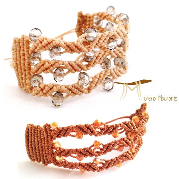 Italian bracelet, macrame cuff, brown beige band, crystal beads, jewelry for woman, micromacrame, orange beads, christmas gift for her jewel by morenamacrame. Explore more products on http://morenamacrame.etsy.com