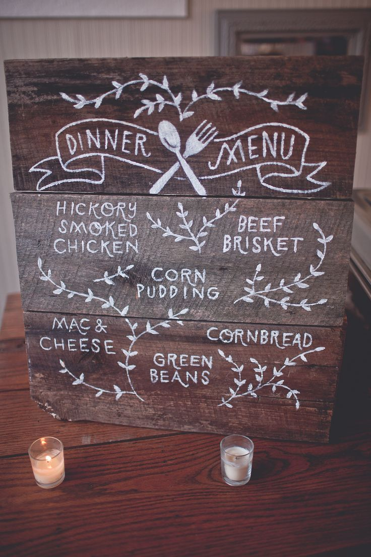 31 august 2013 // front porch farms wedding // charlotte, tennessee // dinner menu handpainted on reclaimed wood // sign painting by shelbyrodeffer.com
