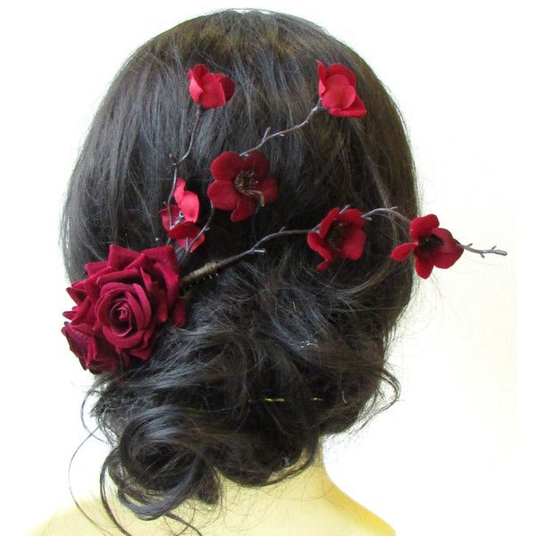 Deep Red Rose Cherry Blossom Sakura Hair Comb Fascinator Headpiece... ($19) ❤ liked on Polyvore featuring accessories, hair accessories, decorative combs, grey, grey fascinator hat, red hair accessories, hair fascinators, wide comb and red fascinator
