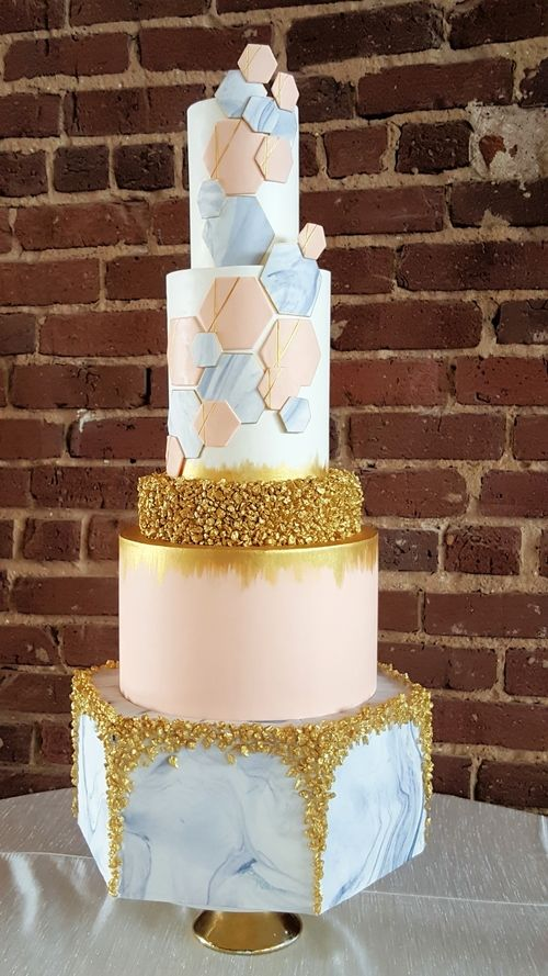 Wedding Cake Geometric Cake Hexagon Cake Marble Gold