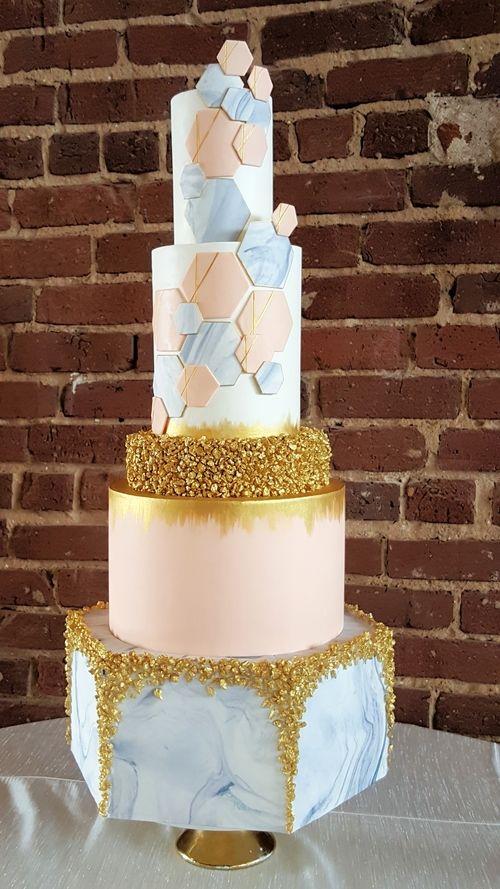 Wedding Cake Geometric Cake Hexagon Cake Marble Gold