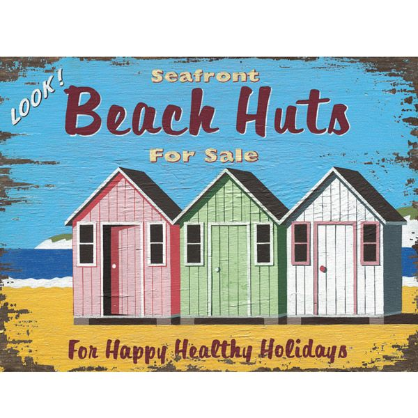Beach Huts For Sale Real Estate Metal Sign | Travel Decor | RetroPlanet.com