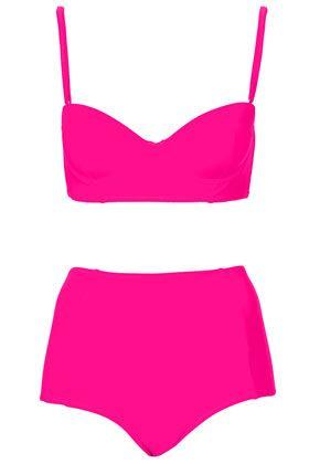 Hot Pink Longline Bikini - TopShop