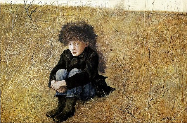 "Andrew Wyeth 'Faraway' (Jamie Wyeth) 1952 drybrush tempera    Artist's son, Jamie. ""Faraway"" is one of Wyeth's first dry-brush paintings. It was begun as a watercolor, with dry-brush technique for the fur cap."